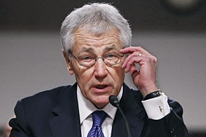 Former U.S. Sen. Chuck Hagel (R-NE) delivers opening remarks to the Senate Armed Services Committee during his confirmation hearing to become the next secretary of defense