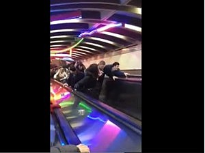 Escalator at Exchange Place PATH station in Jersey City reverses direction