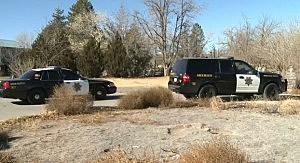Police outside the Grieco family home in South Valley, New Mexico