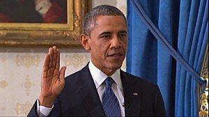 President Obama takes the oath of office at the White House