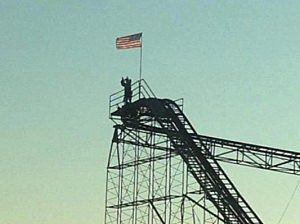 Christopher Angelo after climbing onto the Jet Star roller coaster in Seaside Heights