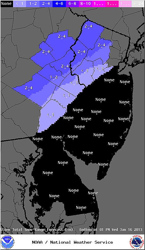 Expected snow accumulation