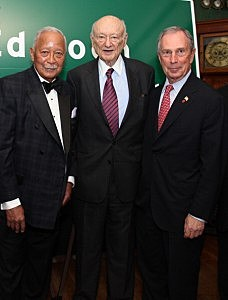 (L-R) David Dinkins, Ed Koch and mayor Mike Bloomberg