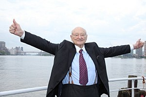 Ed Koch celebrates at the renaming of the Queensboro Bridge in his honor
