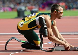 Oscar Pistorius of South Africa prepares for his race in the Men's 400m Round 1 heat on Day 8 of the Summer Olympics in London