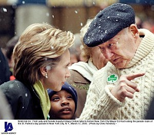 (L-R) Hillary Clinton and Ed Koch