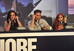 "Jenni 'JWoww' Farley, Pauly D and Nicole 'Snooki' Polizzi man the phones at MTV ""Restore The Shore"" Jersey Shore benefit"