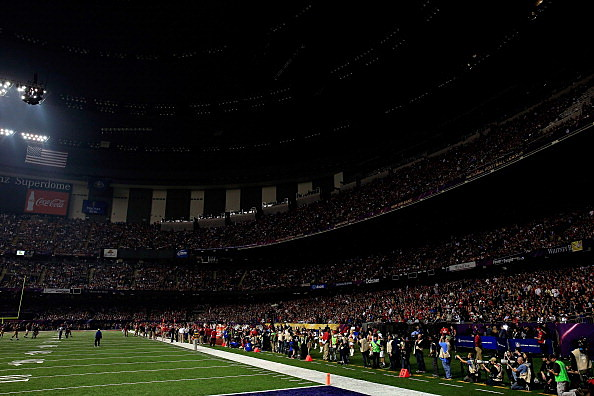 Inside the Super Dome during Super Bowl blackout.