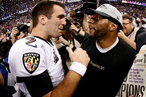 Baltimore's Joe Flacco and Ray Lewis celebrate their Super Bowl win