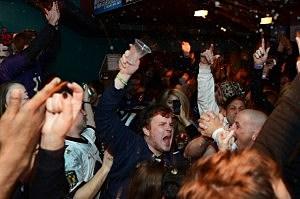 Baltimore Ravens fans celebrate Super Bowl win