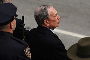 New York City Mayor Michael Bloomberg attends funeral services for former New York City Mayor Ed Koch at Manhattan's Temple Emanu-El