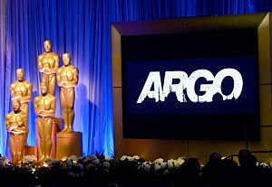 """Argo"" signage and the Oscar statuette are displayed at the 85th Academy Awards Nominations Luncheon"