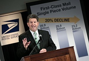 Postmaster General Patrick Donahoe speaks during a press conference at U.S. Postal Service headquarters in Washington D.C.