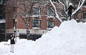 A snow mound in Boston