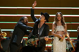 amian Marley, Bruno Mars and Rihanna perform onstage