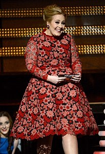 Singer Adele speaks onstage at the 55th Annual Grammy Awards