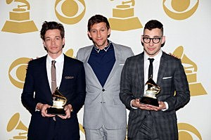 "The band fun., winner of Best New Album and Song of The Year ""We Are Young"", pose in the press room"