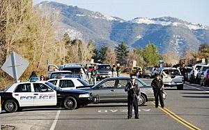 Redlands police officers at a blockade during a manhunt for the former Los Angeles Police Department officer Christopher Dormer