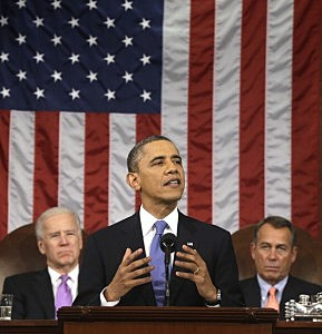 President Barack Obama, flanked by Vice President Joe Biden and House Speaker John Boehner (R-OH), gestures during the State of the Union address