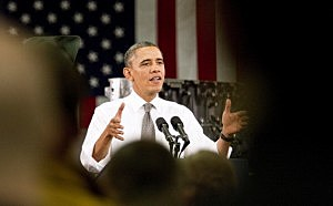 President Barack Obama delivers remarks on the economy at Linamar Corporation  in Arden, North Carolina.