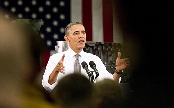President Barack Obama delivers remarks on the economy at Linamar Corporation in Arden, North Carolina.