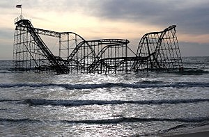 Jet Star roller coaster in the ocean off Seaside Heights