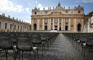 Rows of chairs are put in place in St Peter's Square ahead of Pope Benedict XVI's last public audience on Wednesday