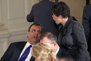 New Jersey Gov. Chris Christie speaks with Senior adviser to the President Valerie Jarrett  at the National Governors Association breakfast at the White House