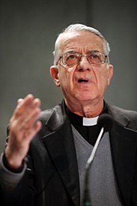 Father Federico Lombardi, Director of the Holy See Press Office speaks to reporters during a press conference in the Holy See Press Room