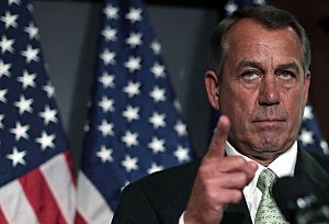 Speaker of the House John Boehner (R-OH) listens to questions during a press conference