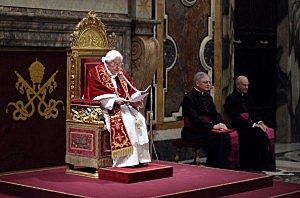 Pope Benedict XVI speaks to his cardinals during a farewell ceremony in the Clementine Hall of the Vatican's Apostolic Palace