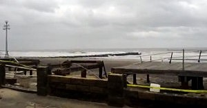 Damage to Avon-by-the-sea boardwalk from Sandy