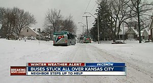 Two stuck buses during Kansas City snowstorm