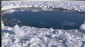 Hole in a Russian lake made by meteor fragment