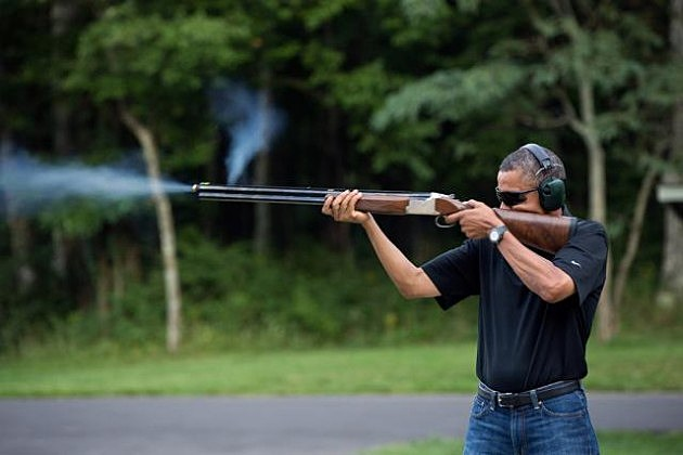 """""""President Barack Obama shoots clay targets on the range at Camp David, Md., Saturday, Aug. 4, 2012. (Official White House Photo by Pete Souza)"""