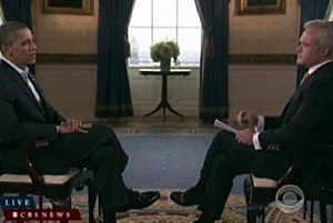 President Obama during pre-Super Bowl interview with CBS' Scott Pelley