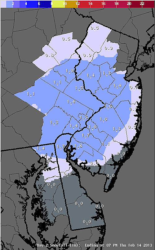 Predicted snow totals from Wednesday night's storm