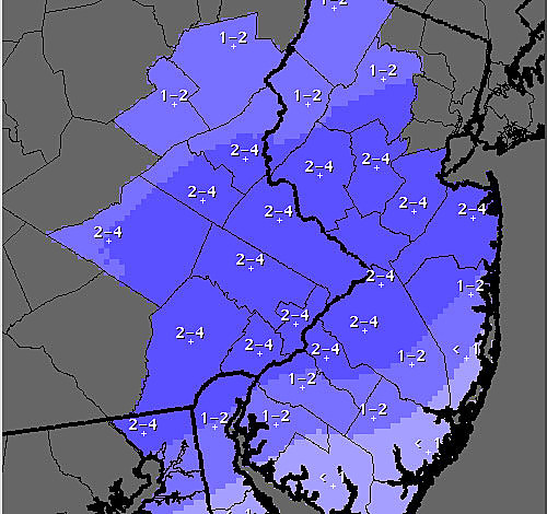 Expected snow totals from Wednesday night's storm