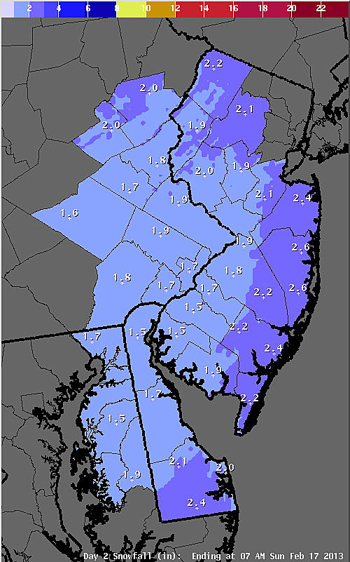 Expected snow totals Friday night into Saturday morning.