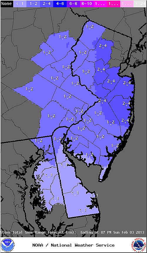 Snow accumulation expected by the National Weather Service