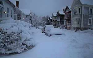 Snow in New Bedford, Massachusetts