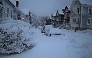 Snow in New Bedford, Massachusetts