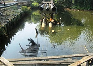 Collapsed portion of Swimming River Pipeline Bridge