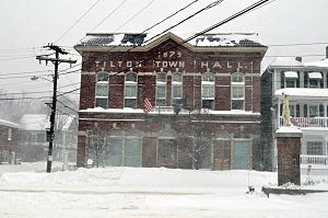 Snow in downtown Tilton, New Hampshire