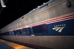An Amtrak train pulls into Newark Penn Station