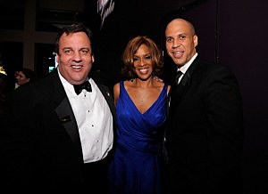 (L-R) New Jersey Governor Chris Christie, Gayle King, and Newark Mayor Corey Booker attends the TIME 100 Gala