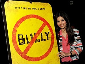 "ctress Victoria Justice arrives at the premiere of the movie ""Bully."""