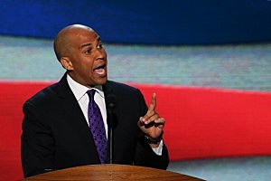 Newark Mayor Cory Booker speaks during the Democrat National Convention