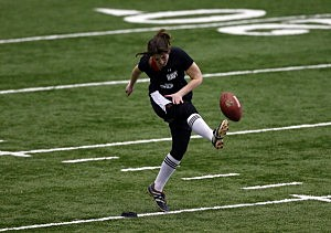 Lauren Silberman attempts a kick off during the NFL Regional Scouting Combine at the Atlantic Health Training Center in Floram Park
