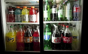 Large soda bottles are seen in a bodega in Chinatown